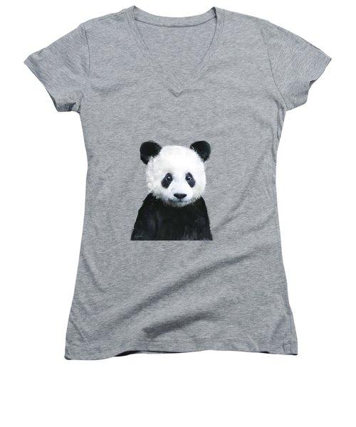 Little Panda Women's V-Neck T-Shirt (Junior Cut) by Amy Hamilton