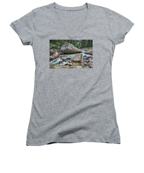 Women's V-Neck T-Shirt (Junior Cut) featuring the photograph Little Pine Tree Stream View by James BO Insogna