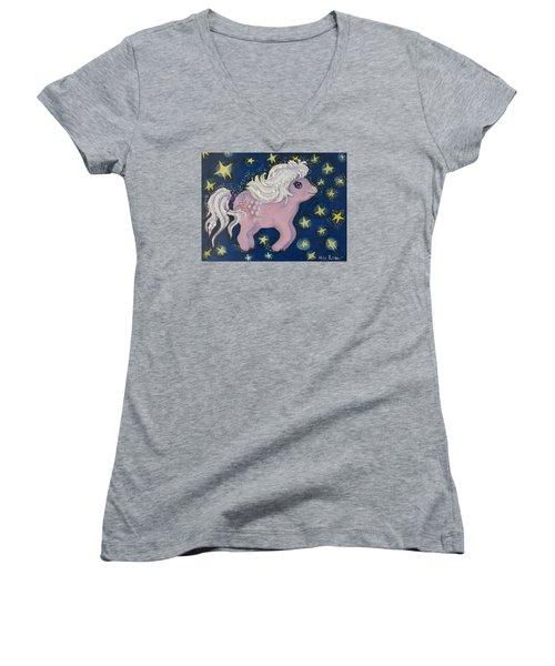 Little Pink Horse Women's V-Neck T-Shirt (Junior Cut) by Rita Fetisov