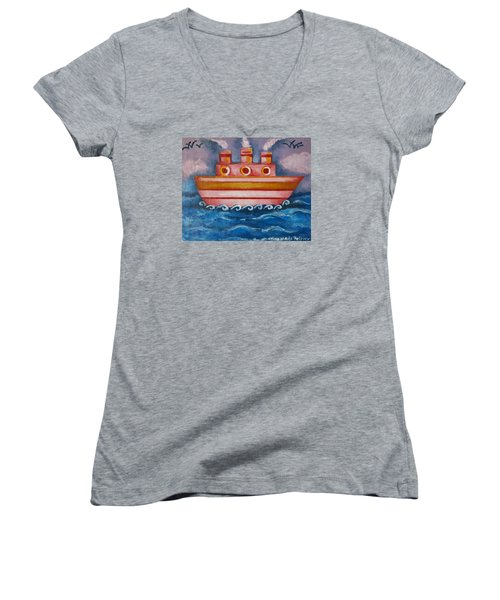 Little Pink Ship Women's V-Neck T-Shirt (Junior Cut) by Rita Fetisov