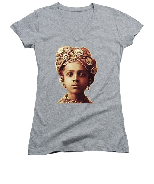 Little Prince Women's V-Neck T-Shirt (Junior Cut) by Asok Mukhopadhyay
