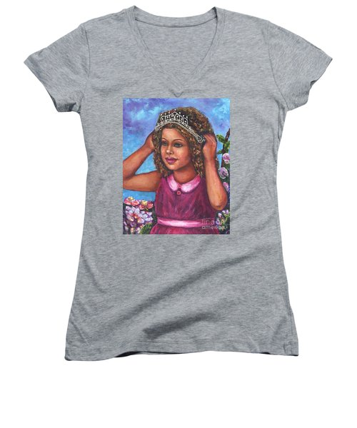 Women's V-Neck T-Shirt (Junior Cut) featuring the painting Little Princess by Alga Washington