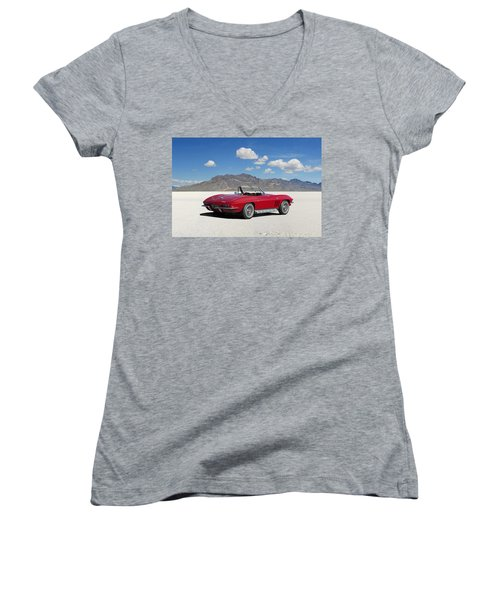 Women's V-Neck T-Shirt (Junior Cut) featuring the digital art Little Red Corvette by Peter Chilelli