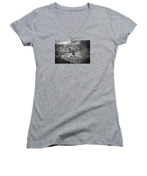 Little Victorian Farm House In A Mountain Field Women's V-Neck T-Shirt (Junior Cut) by Kelly Hazel
