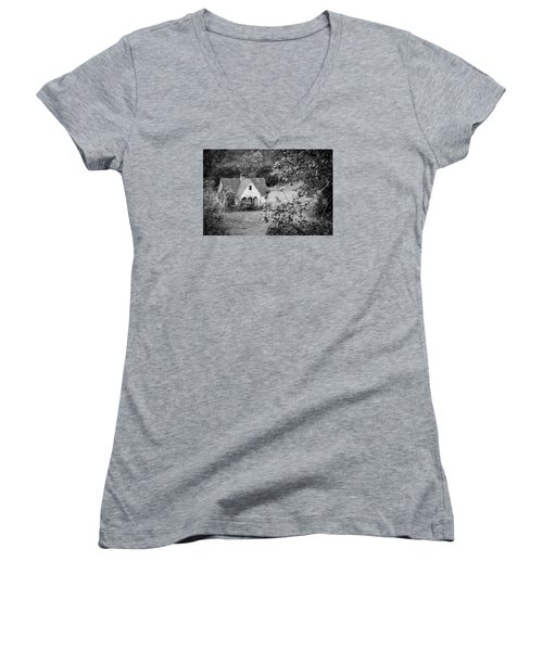 Little Victorian Styled Farm House In The Mountains Women's V-Neck T-Shirt (Junior Cut) by Kelly Hazel