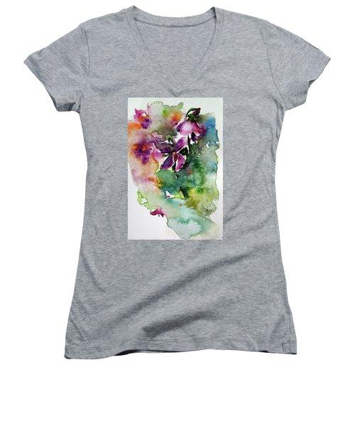 Women's V-Neck T-Shirt (Junior Cut) featuring the painting Little Violet by Kovacs Anna Brigitta