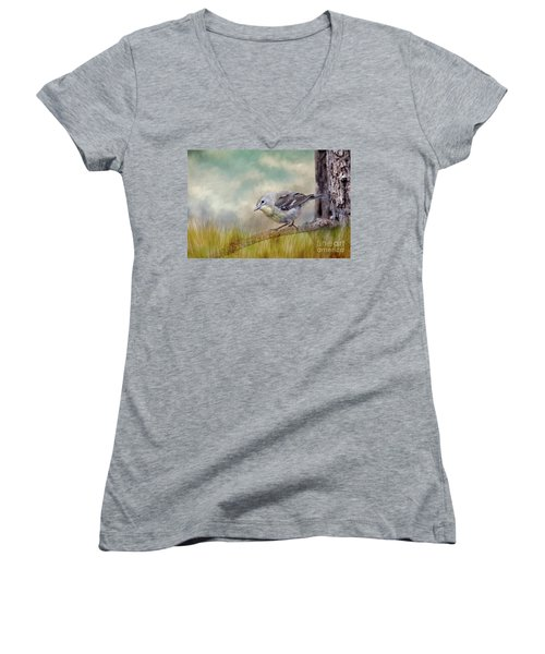 Women's V-Neck T-Shirt (Junior Cut) featuring the photograph Little Warbler In Louisiana Winter by Bonnie Barry