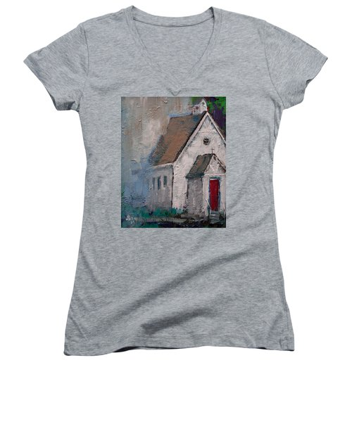 Little White Church On The Corner Christian Painting  Women's V-Neck (Athletic Fit)