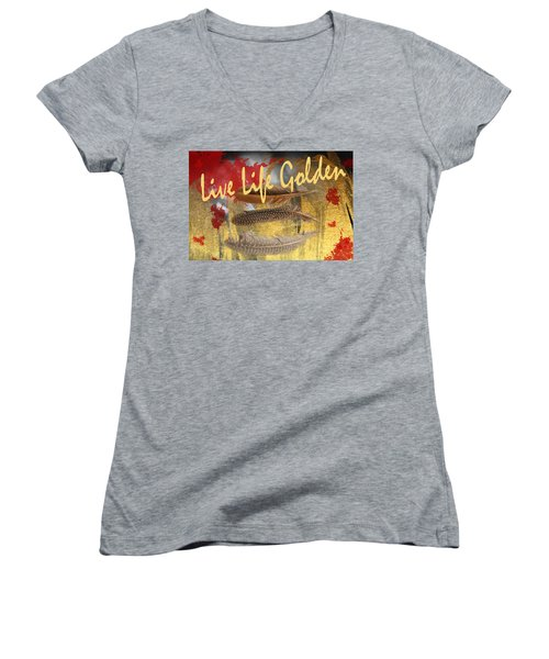 Women's V-Neck T-Shirt (Junior Cut) featuring the photograph Live Life Golden by Toni Hopper