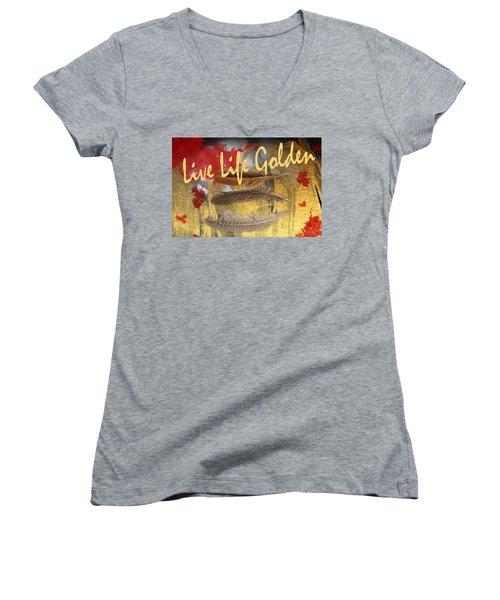 Live Life Golden Women's V-Neck T-Shirt