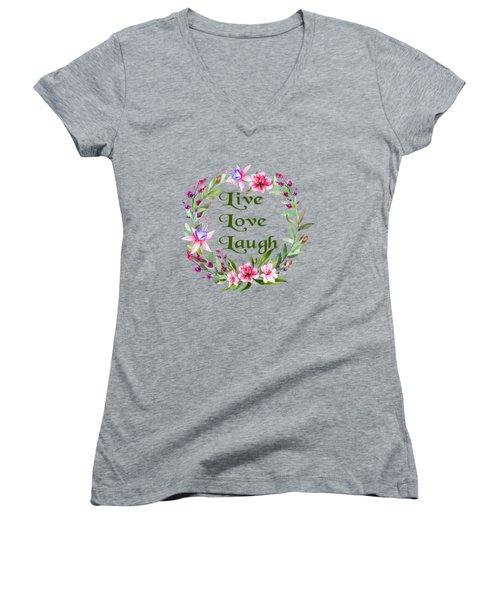 Live Love Laugh Wreath Women's V-Neck