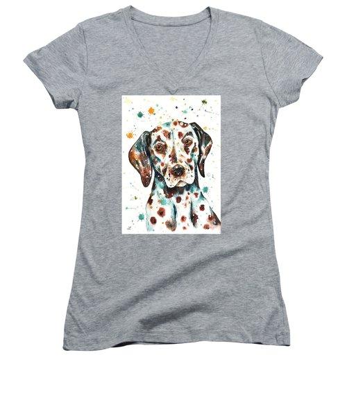 Women's V-Neck T-Shirt featuring the painting Liver-spotted Dalmatian by Zaira Dzhaubaeva
