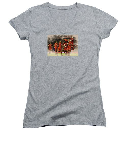 Liverpool V Leicester City Women's V-Neck T-Shirt