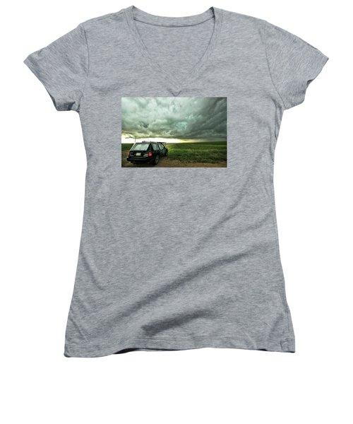 Women's V-Neck T-Shirt (Junior Cut) featuring the photograph Living Saskatchewan Sky by Ryan Crouse