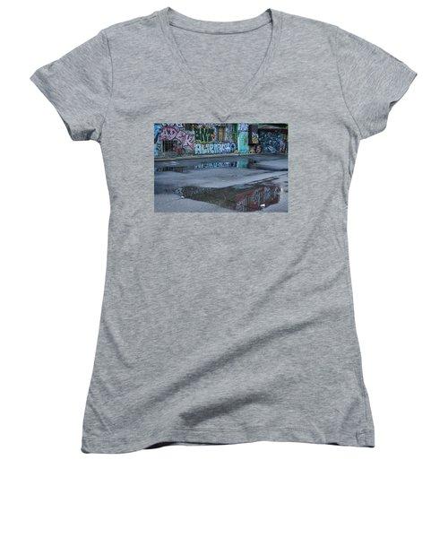 Women's V-Neck T-Shirt featuring the photograph Ljubljana Graffiti Reflections #2 - Slovenia by Stuart Litoff