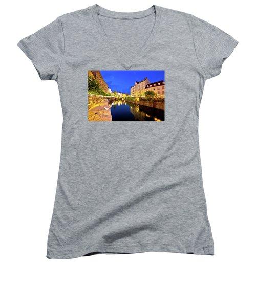 Ljubljanica River Waterfront In Ljubljana Evening View Women's V-Neck T-Shirt