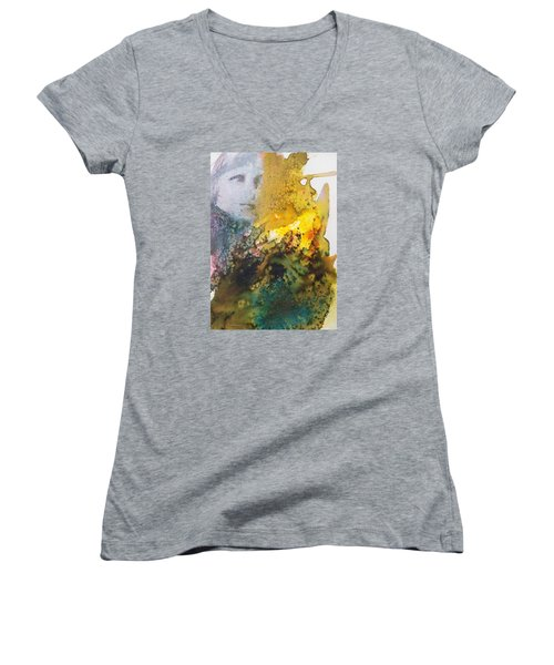 Women's V-Neck T-Shirt (Junior Cut) featuring the painting Llywelyn From Luxembourg by Ed  Heaton