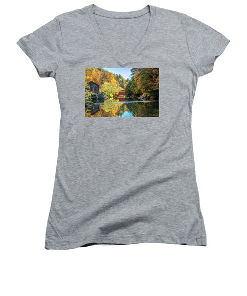 Mcconnell's Mill And Covered Bridge Women's V-Neck T-Shirt (Junior Cut) by Skip Tribby