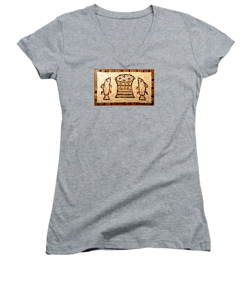 Women's V-Neck T-Shirt (Junior Cut) featuring the photograph Loaves And Fishes Mosaic by Lou Ann Bagnall