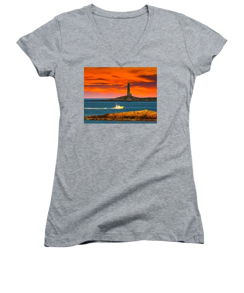 Lobster Boat Cape Cod Women's V-Neck T-Shirt (Junior Cut) by Randall Branham