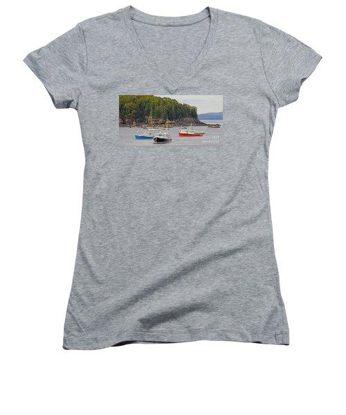 Lobster Boats In Bar Harbor Women's V-Neck T-Shirt