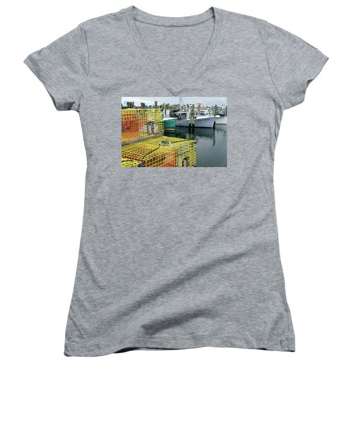 Lobster Traps In Galilee Women's V-Neck (Athletic Fit)