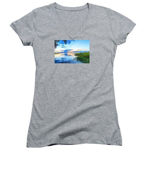 Women's V-Neck T-Shirt (Junior Cut) featuring the photograph Lochloosa Lake by Anthony Baatz