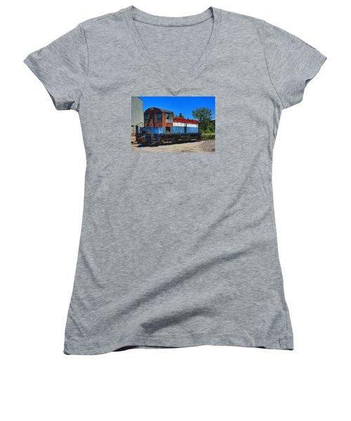 Locomotive Women's V-Neck T-Shirt (Junior Cut) by Ronald Olivier