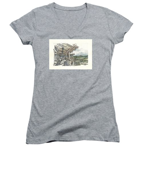 Lodge 2 Women's V-Neck T-Shirt (Junior Cut) by Andrew Drozdowicz