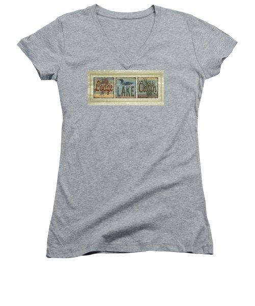 Lodge Lake Cabin Sign Women's V-Neck T-Shirt (Junior Cut) by Joe Low
