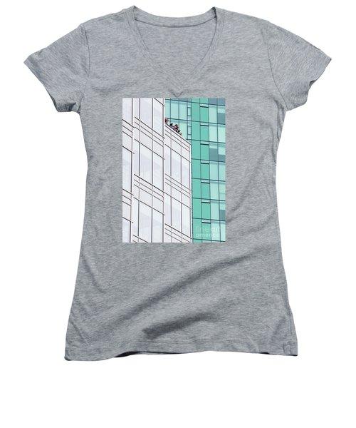 Women's V-Neck T-Shirt (Junior Cut) featuring the photograph Lofty View by Chris Dutton