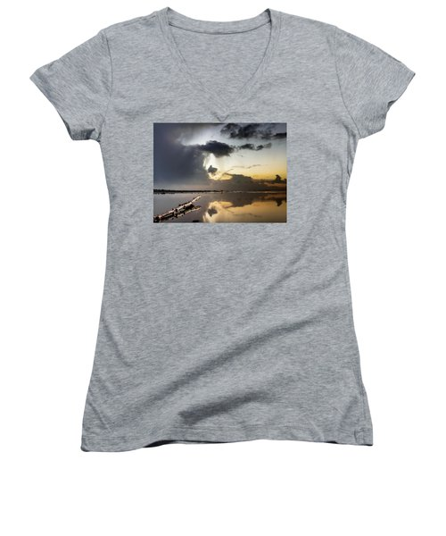Log Pointing To Sunset Women's V-Neck T-Shirt (Junior Cut) by Greg Nyquist