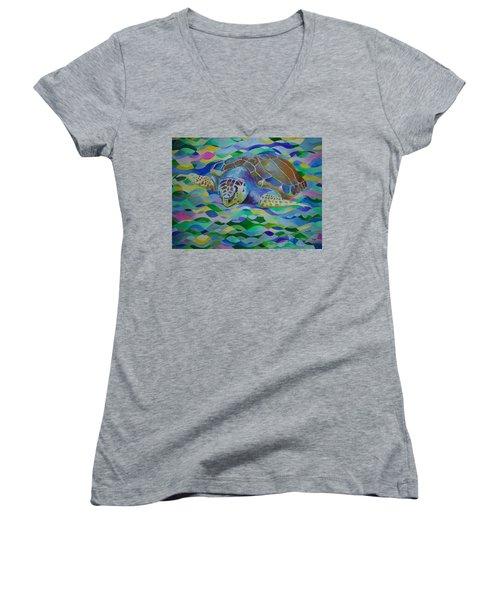 Loggerhead Turtle Women's V-Neck T-Shirt (Junior Cut) by Tracey Harrington-Simpson
