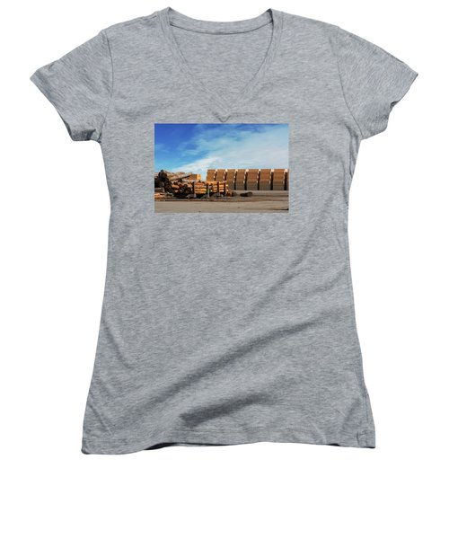 Logs And Plywood At Lumber Mill Women's V-Neck (Athletic Fit)
