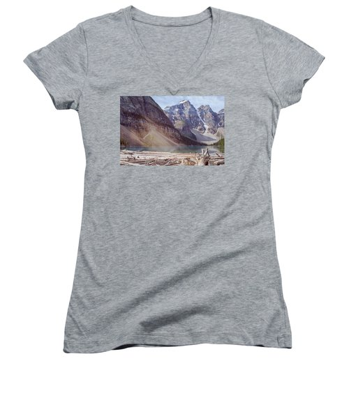 Logs At Lake Moraine Women's V-Neck T-Shirt (Junior Cut) by Patricia Hofmeester