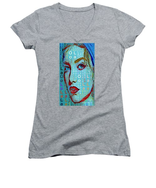 Women's V-Neck T-Shirt featuring the digital art Lola Knows by Rafael Salazar