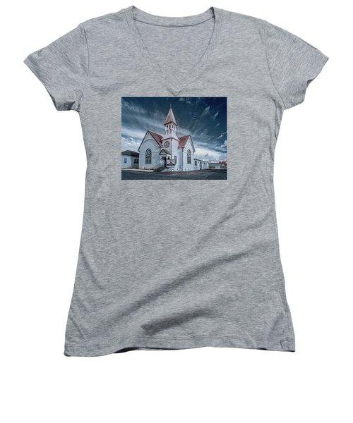 Loleta Church Women's V-Neck T-Shirt (Junior Cut) by Greg Nyquist