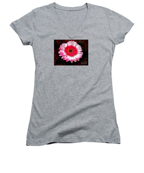 Women's V-Neck T-Shirt (Junior Cut) featuring the photograph Lollipop Gerber Daisy by Patricia L Davidson