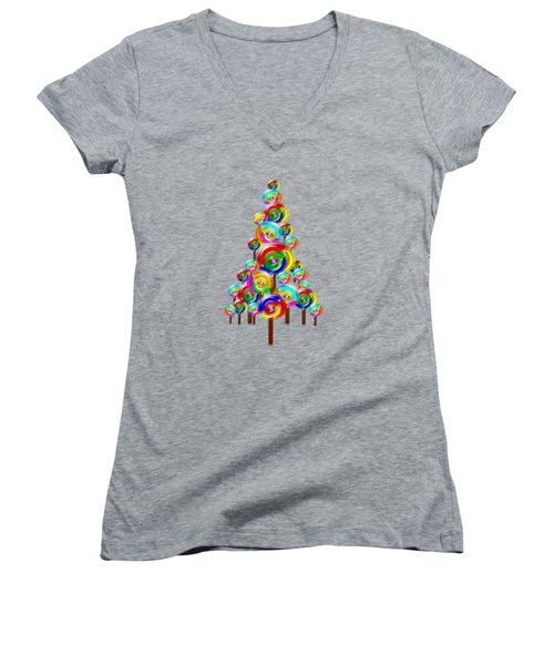 Lollipop Tree Women's V-Neck (Athletic Fit)