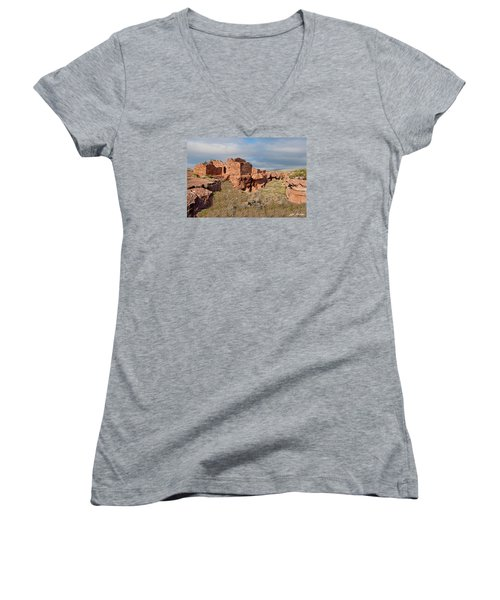 Lomaki Pueblo Ruins Women's V-Neck