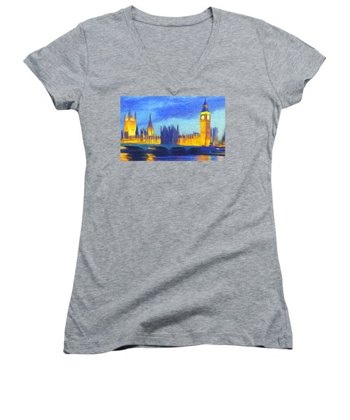 London 1 Women's V-Neck T-Shirt (Junior Cut) by Caito Junqueira