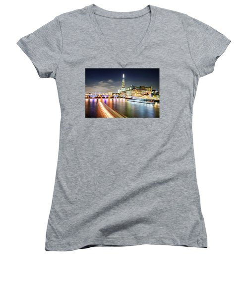 London At Night With Urban Architecture, Amazing Skyscraper And Boat At Thames River, United Kingdom Women's V-Neck T-Shirt
