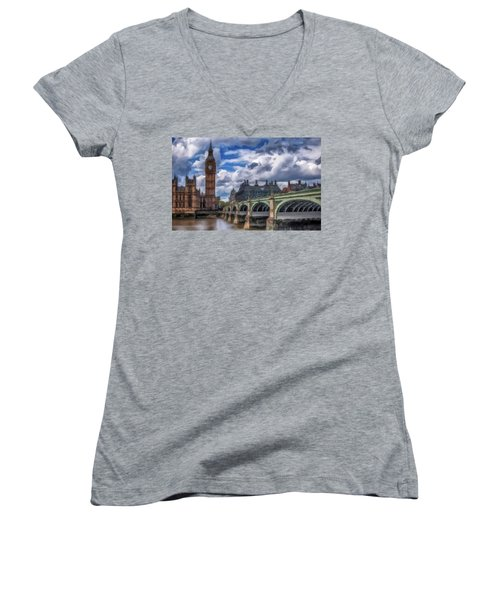 Women's V-Neck T-Shirt (Junior Cut) featuring the painting London Big Ben by David Dehner