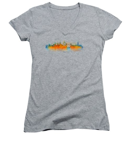 London City Skyline Hq V3 Women's V-Neck T-Shirt (Junior Cut) by HQ Photo