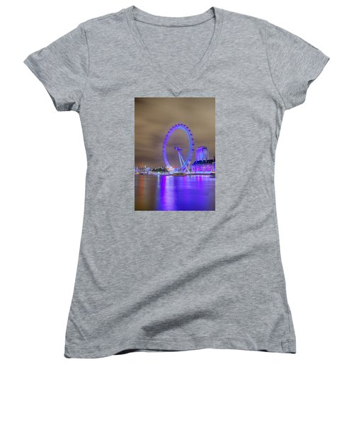 London Cityscape At Night 5x7 Women's V-Neck (Athletic Fit)