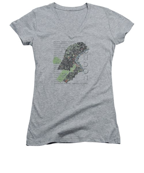 London Classic Map Women's V-Neck T-Shirt