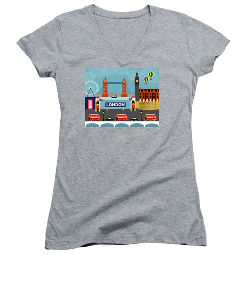 London England Horizontal Scene - Collage Women's V-Neck T-Shirt (Junior Cut) by Karen Young
