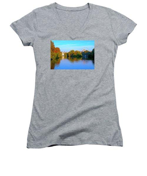 London Eye And Palace Women's V-Neck T-Shirt (Junior Cut) by Haleh Mahbod