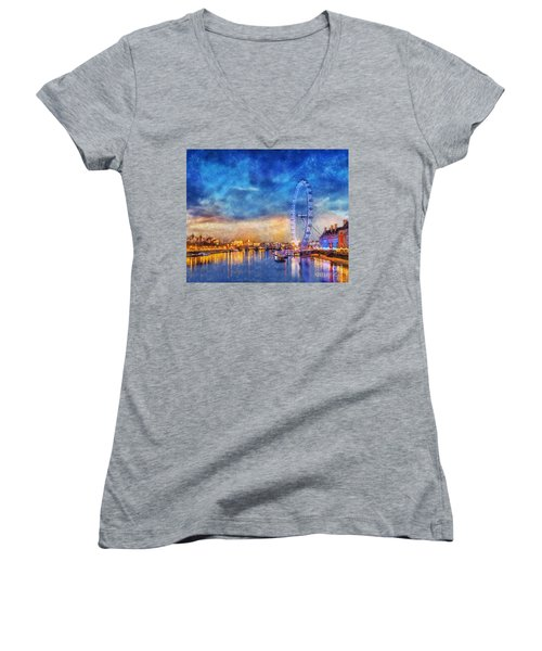 Women's V-Neck T-Shirt (Junior Cut) featuring the photograph London Eye by Ian Mitchell