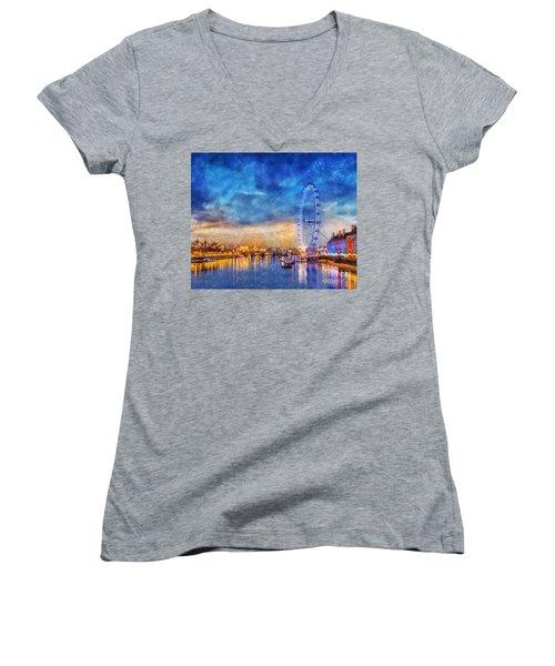 London Eye Women's V-Neck T-Shirt (Junior Cut) by Ian Mitchell
